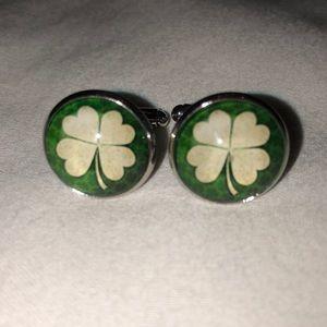 Shamrock four leaf clover cufflinks silver
